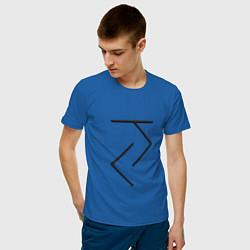 Футболка хлопковая мужская Йога - руна цвета синий — фото 2