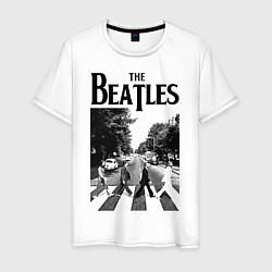 Футболка хлопковая мужская The Beatles: Mono Abbey Road цвета белый — фото 1