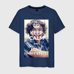 Футболка хлопковая мужская Keep Calm & Love Harry Styles цвета тёмно-синий — фото 1