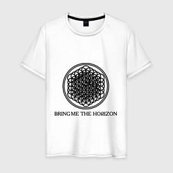 Мужская хлопковая футболка с принтом Bring me the horizon, цвет: белый, артикул: 10017329100001 — фото 1