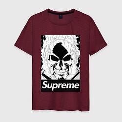 Футболка хлопковая мужская Supreme Skull цвета меланж-бордовый — фото 1