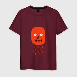 Футболка хлопковая мужская Кнопка психодел цвета меланж-бордовый — фото 1
