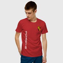Футболка хлопковая мужская PORSCHE цвета красный — фото 2