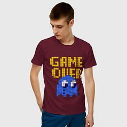 Футболка хлопковая мужская Pac-Man: Game over цвета меланж-бордовый — фото 2