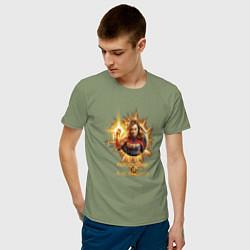 Футболка хлопковая мужская Capt Marvel: Become a Legend цвета авокадо — фото 2