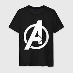 Футболка хлопковая мужская Avengers Symbol цвета черный — фото 1