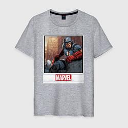 Футболка хлопковая мужская Капитан Америка цвета меланж — фото 1