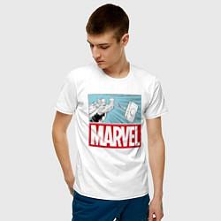 Футболка хлопковая мужская Thor: Marvel цвета белый — фото 2