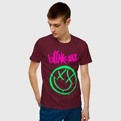 Футболка хлопковая мужская BLINK-182 цвета меланж-бордовый — фото 2
