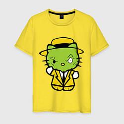 Футболка хлопковая мужская Kitty Mask цвета желтый — фото 1