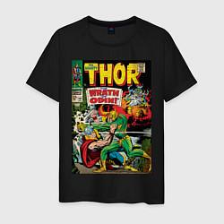 Футболка хлопковая мужская Thor vs Loki цвета черный — фото 1