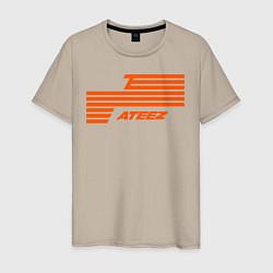 Мужская хлопковая футболка с принтом Ateez, цвет: миндальный, артикул: 10196053500001 — фото 1