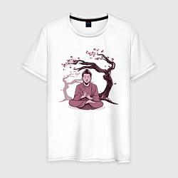 Футболка хлопковая мужская Будда Сакура цвета белый — фото 1