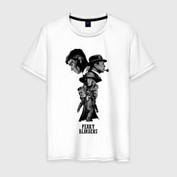 Футболка хлопковая мужская Острые козырьки постер цвета белый — фото 1