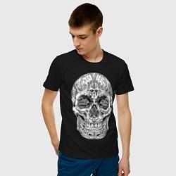 Футболка хлопковая мужская Узор цвета черный — фото 2