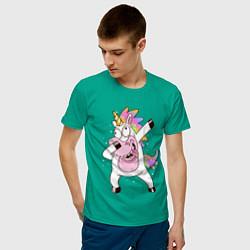 Футболка хлопковая мужская Dabbing Unicorn цвета зеленый — фото 2