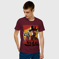 Футболка хлопковая мужская Red dead redemption 2 цвета меланж-бордовый — фото 2