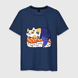 Футболка хлопковая мужская Sushi Cat цвета тёмно-синий — фото 1