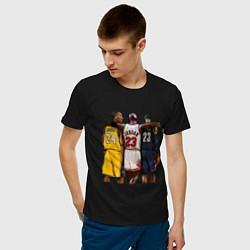 Футболка хлопковая мужская Bryant, Jordan, James цвета черный — фото 2