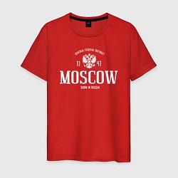 Футболка хлопковая мужская Москва Born in Russia цвета красный — фото 1