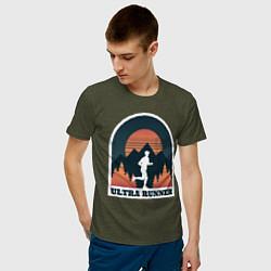 Мужская хлопковая футболка с принтом Бег, цвет: меланж-хаки, артикул: 10206099300001 — фото 2