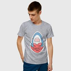 Футболка хлопковая мужская Chews You Парная цвета меланж — фото 2
