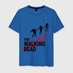 Мужская хлопковая футболка с принтом The walking dead, цвет: синий, артикул: 10020753900001 — фото 1