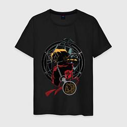 Футболка хлопковая мужская Стальной алхимик цвета черный — фото 1