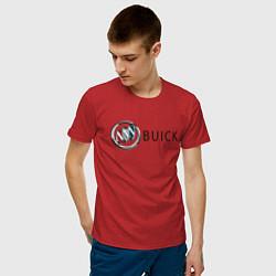 Футболка хлопковая мужская Buick цвета красный — фото 2