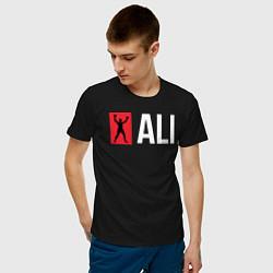 Футболка хлопковая мужская ALI цвета черный — фото 2