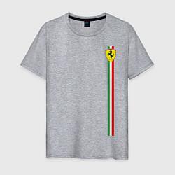 Футболка хлопковая мужская Ferrari цвета меланж — фото 1