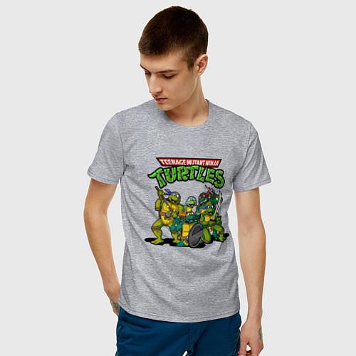 Мужская футболка Черепашки-ниндзя / Меланж – фото 3