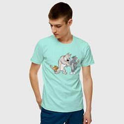 Футболка хлопковая мужская Tom & Jerry цвета мятный — фото 2