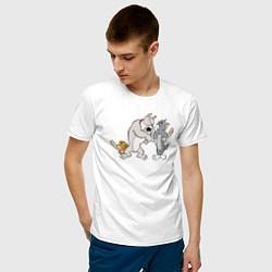 Футболка хлопковая мужская Tom & Jerry цвета белый — фото 2