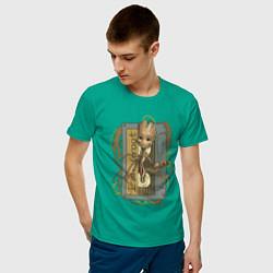 Футболка хлопковая мужская Groot цвета зеленый — фото 2