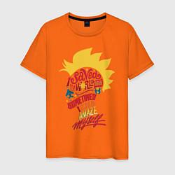 Футболка хлопковая мужская Капитан Марвел цвета оранжевый — фото 1