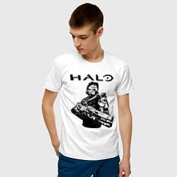 Футболка хлопковая мужская HALO цвета белый — фото 2