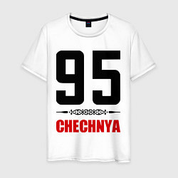 Мужская хлопковая футболка с принтом 95 Chechnya, цвет: белый, артикул: 10022359500001 — фото 1