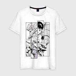 Футболка хлопковая мужская Аска и Синдзи, Евангелион цвета белый — фото 1