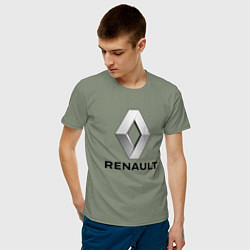 Футболка хлопковая мужская RENAULT цвета авокадо — фото 2