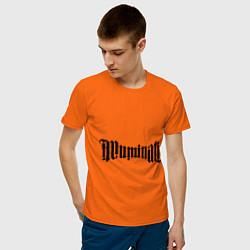Футболка хлопковая мужская Амбиграмма Иллюминати цвета оранжевый — фото 2