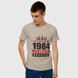 Футболка хлопковая мужская 1984 - рождение легенды цвета миндальный — фото 2