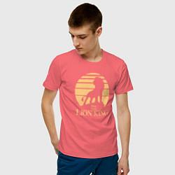Мужская хлопковая футболка с принтом The Lion King, цвет: коралловый, артикул: 10266107100001 — фото 2