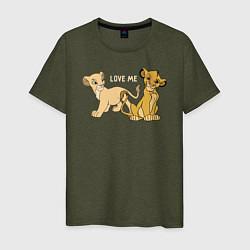 Мужская хлопковая футболка с принтом Love Me, цвет: меланж-хаки, артикул: 10266131700001 — фото 1