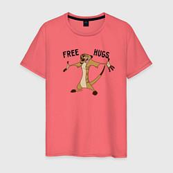 Мужская хлопковая футболка с принтом Бесплатные объятия, цвет: коралловый, артикул: 10266211700001 — фото 1