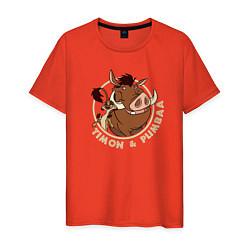 Мужская хлопковая футболка с принтом Тимон и Пумба, цвет: рябиновый, артикул: 10266217700001 — фото 1