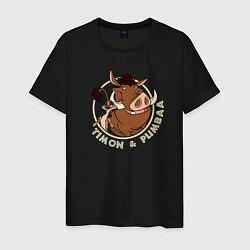 Мужская хлопковая футболка с принтом Тимон и Пумба, цвет: черный, артикул: 10266217700001 — фото 1