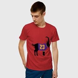 Мужская хлопковая футболка с принтом LeBron James - GOAT, цвет: красный, артикул: 10274334300001 — фото 2