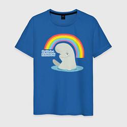 Футболка хлопковая мужская My Life Is A Rainbow цвета синий — фото 1