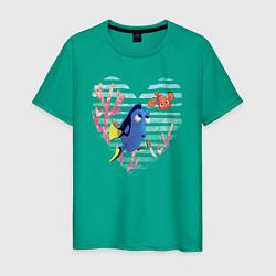 Футболка хлопковая мужская Finding Nemo цвета зеленый — фото 1